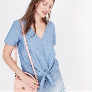 NWT Madewell • Chambray Novel Tie-Front Top